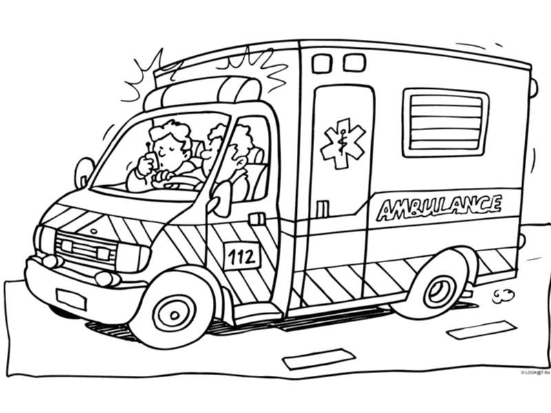 Kleurplaten Politieauto.Kleurplaat Ambulance